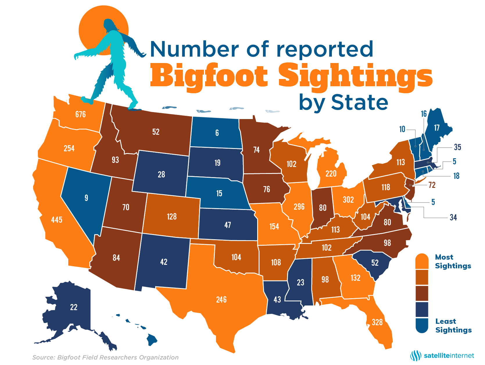 Us Map Of Bigfoot Sightings States with the Most Bigfoot Sightings | SatelliteInternet.com